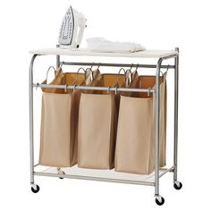 laundry cart with ironing board wheeled dirty clothes laundry hamper Laundry Cart, Laundry Hamper, Laundry Rooms, Mud Rooms, Bathroom Furniture, Home Furniture, Modern Furniture, Laundry Center, Folding Laundry