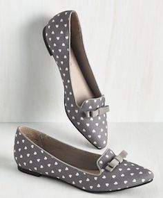Cute grey polka dot flats