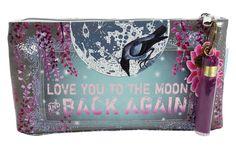 Love You to the Moon Purple Tassel Graphic Art Design Oil Cloth Medium Make-up or Accessory Travel Bag - Skelapparel - 1