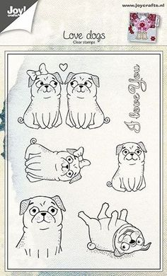 Joy Crafts Clear - Love Dogs - Pugs - Clear Stamp Set