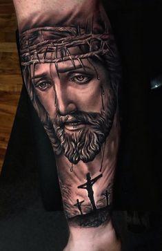 Jesus Tattoos - Tons of Jesus Tattoo Designs & Ideas - Tattoo Me Now Jesus Forearm Tattoo, Jesus On Cross Tattoo, Jesus Tattoo Sleeve, Cool Forearm Tattoos, Best Sleeve Tattoos, Tattoo Sleeve Designs, Jesus Tatoo, Religious Tattoos For Men, Religious Tattoo Sleeves