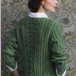 Knitted pullover in aran style. Free knitting pattern.