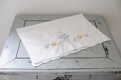 Embroidered Vintage Tray Cloth Tea Party Hostess by WillowsRoom