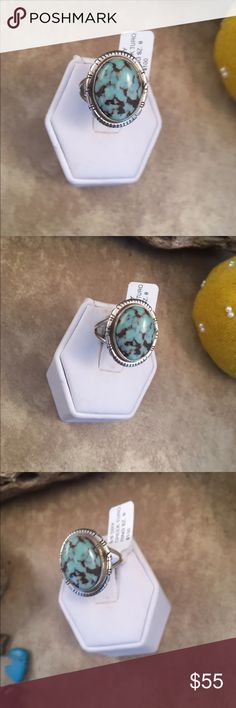 Navajo Dry Creek Turquoise Ring Size 8 This is a wonderful piece made by Scott Skeets it is made of Sterling Silver and Dry Creek Turquoise. This ring is size 8 and is right at 3/4 of a inch long and just over 5/8 of a inch wide. This piece is signed by the artist and stamped sterling.   Please contact me with any questions and thank you for looking. Jewelry Rings
