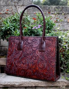 Juan Antonio Sienna Brown Tooled Leather Handbag Tote.