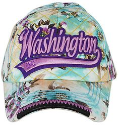 2d61437f827 CPDC66-G Robin Ruth Baseball Cap PURPLE with Blossoms Washington DC