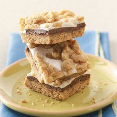 S'more Bars Recipe -Once school starts, it can be hard for kids to let go of summer. But these rich, gooey, great-tasting bars will bring back sweet campfire memories—and smiles—whether they're served for dessert or as an after-school snack. —Lisa DiPrima, Wilton, New Hampshire