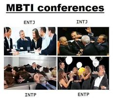 How the NTs do conferences. Except, I think the INTJs would just look daggers at each other and scheme rather than come to actual blows.