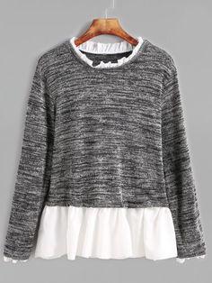 Dark Grey Contrast Ruffle Trim T-shirt