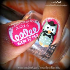 M.D.N.D-My Daily Nail Designs: Mr. Owl with Moustache : Movember Nail Tutorial #movemebrawarenessmani