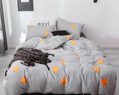 Orange duvet cover king   Etsy Orange Duvet Covers, Best Duvet Covers, Duvet Cover Sets, Cover Pillow, Pillow Set, Geometric Bedding, Striped Bedding, Black Bedding, King Bedding Sets