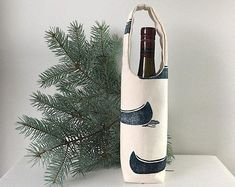 A perfect gift for the host of your next cottage invitation! Lots of patterns to choose from. Wine Tote, Liquor, Organic Cotton, Wraps, Canvas, Bottle, Wrapping, Fabric, Champagne