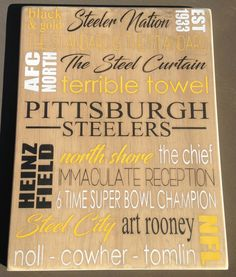 "Steelers Wall Art country marketplace - vintage pittsburgh steelers wood sign 18"" x"