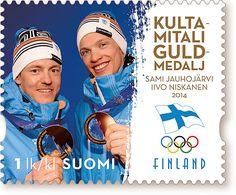 Kultamitali postimerkki Sotshi 2014 (kuva: www.posti.fi)