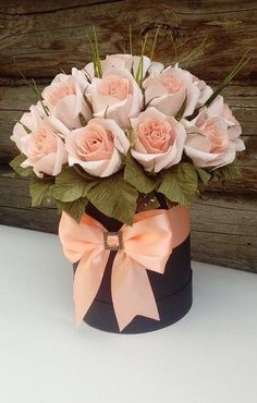 Home Decoration Ideas From Waste .Home Decoration Ideas From Waste Flower Box Gift, Flower Boxes, My Flower, Beautiful Flower Arrangements, Pretty Flowers, Floral Arrangements, Deco Floral, Floral Design, Crepe Paper Flowers