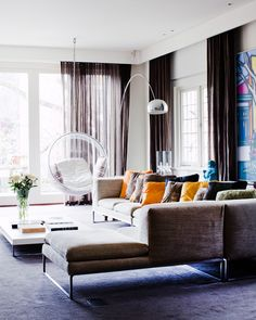 Love the bubble chair - Luxurious textures and rich colours in a Melbourne home. Photos by Sean Fennessy, production Lucy Feagins / The Design Files Living Room Sectional, My Living Room, Home And Living, Living Spaces, Modern Living, Bubble Chair, Living Room Furniture Arrangement, Melbourne House, The Design Files