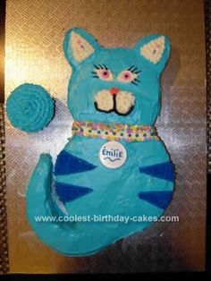Homemade Blue Cat Birthday Cake: I made this Blue Cat Birthday Cake with my 11 year old daughter for my boyfriend's daughter 9th birthday. She is a cat lover and has beautiful blue eyes
