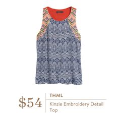 **** THML Kensie embroidery detail top tank. Such a fun top for Spring. Stitch Fix Fall, Stitch Fix Spring Stitch Fix Summer 2016 2017. Stitch Fix Fall Spring fashion. #StitchFix #Affiliate #StitchFixInfluencer