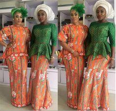 nigerian-wedding-ankara-latest-best-fashion-styles-ini-edo-lace-long Aso Ebi Styles, Ankara Styles, Aso Ebi Dresses, Nigerian Lace, Party Looks, Cool Fabric, Cool Style, Sari, African Outfits