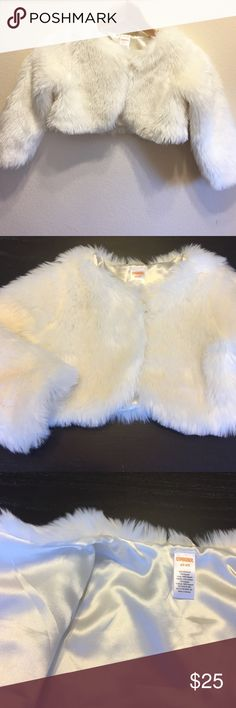 Gymboree 4T/5T Crop Furry Jacket Long Sleeve Excellent condition. Warm crop jacket with long sleeves. Smoke free home. Single button front. Machine wash cold. Color is an ivory white. Gymboree Jackets & Coats