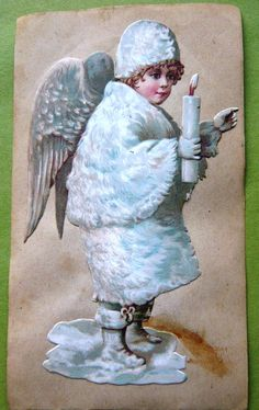 Victorian die-cut sweet Christmas angel all in white dated 1891