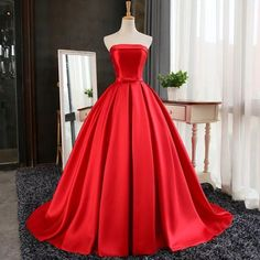 Strapless Red Ball Gown with Corset Back Ball Gowns Evening, Ball Gowns Prom, Party Gowns, Ball Dresses, Evening Dresses, Wedding Gowns, Prom Party, Dresses Dresses, Formal Wedding