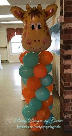 Safari First Birthday Orange and Turquoise decor Balloon Column