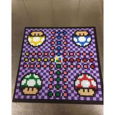 Mario ludo board game perler beads by artbyfredd Hama Beads Mario, Diy Perler Beads, Hama Beads Design, Hama Beads Patterns, Pearler Beads, Beading Patterns, Geek Crafts, Bead Loom Bracelets, Pony Beads