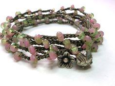 Pink crochet wrap bracelet with Thai silver charms by 3DivasStudio, Etsy