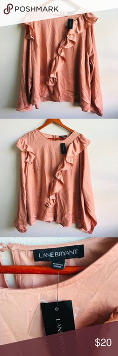 6198f1557dd NWT Lane Bryant Pink Ruffled Blouse Adorbs color and style Nwt by lane  Bryant Size 22