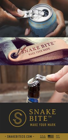 The Original Snake Bite - Bottle Opener AND vents cans for a smooth pour.  Patented and 100% made in the USA.   Very unique gift for the holidays!