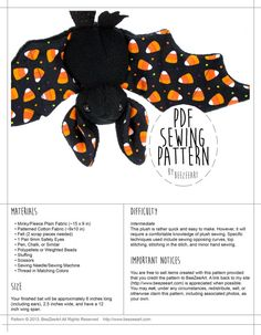Welcome! For my full range of products, please visit my website at www.BeeZeeArt.com  This sewing pattern will help you create an adorable stuffed animal bat friend of your very own. These plush bats feature large ears and cute little faces. Unlike many other bat sewing patterns patterns, these bats are designed to sit up on their own rather than relying on string to hang them. Are you a beginner? Find an easier bat plush pattern here: http://etsy.me/1LHxLz2 Interested in other patterns?…