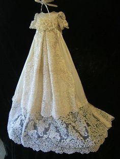 Angela West Christening gown set SELWYN ivory   bonnet,booties,bib,blanket , bloomers and custom monogram. $489.00, via Etsy.