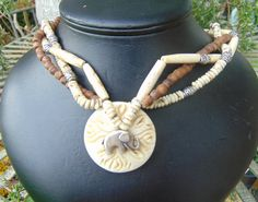 necklace bone 19 in. buffalo on one side by celestialmoonjourney