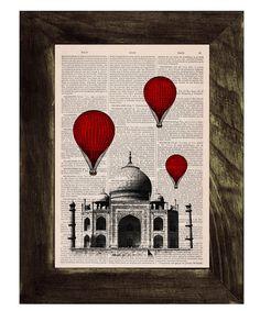 Vintage+Book+Print+++Taj+Mahal+Balloon+Ride+Print+on+by+PRRINT