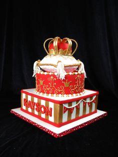 Royal cake, red and gold cake, crown cake, carnival theme, king cake,