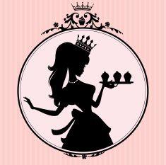 Princess Cupcake Frame vector art illustration