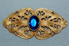 Vintage / Brooch / Large / Blue / Faceted / by AmericanHomestead, $18.50