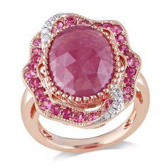 Miadora 14k Rose Gold Pink Sapphire and 1/10ct TDW Diamond Ring (G-H, SI1-SI2)