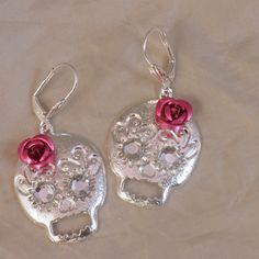 Dia de los Muertos Day of the dead Skull earrings with by ElSol, $12.00