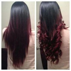 Red ombre hair looks pretty good, too. Black Hair Ombre, Ombre Hair Color, Ombre Brown, Black Hair Red Tips, Pink Hair, Black And Burgundy Hair, Burgundy Weave, Ombre Style, Red Style