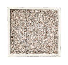 Mosaico Branco desgastado-Olhe Relevo Metal Madeira Arte De Parede Estilo Indiano Painel Decoração