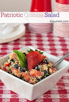 This red, white & blue quinoa fruit salad will be the hit of your patriotic themed party. Fresh berries and quinoa tossed in a citrus vinaigrette dressing. Quinoa Fruit Salad, Quinoa Salad Recipes, Veggie Recipes, Vegetarian Recipes, Healthy Recipes, Delicious Recipes, Farro Recipes, Quinoa Recipe, Easy Recipes