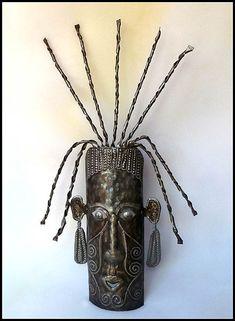 Ethnic Mask, Metal Wall Hanging, Haiti Metal Art, Metal Wall Art, Haitian Steel Drum Art - x Metal Art Decor, Metal Yard Art, Metal Artwork, Metal Wall Sculpture, Steel Sculpture, 55 Gallon Steel Drum, Ceramic Mask, Drums Art, Haitian Art