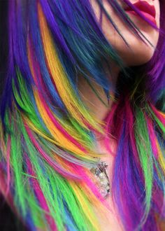 This full head set of dashing hair extensions are a one of a kind, hand dyed, layered, re-sewn and customised by Anya Goy, professional rainbow hair artist. Rainbow Hair Extensions, Clip In Hair Extensions, Hair Dye Colors, Cool Hair Color, Dye My Hair, New Hair, Pretty Hairstyles, Funky Hairstyles, Rainbow Hairstyles