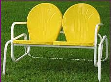 Reminds me of my long hot summers in Low Country South Carolina. These things would get so hot it would burn the skin straight of your behind, but they could help you get a little relief from the summer heat with it's swaying action he hehe hehe! Vintage Patio Furniture, Lawn Furniture, Outdoor Furniture, Vintage Yellow, Vintage Metal, Vintage Stuff, Painted Chairs, Metal Chairs, Patio Chairs