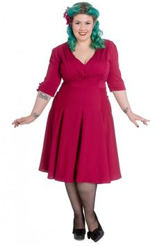 Hell Bunny Vintage 40s June Dress Raspberry