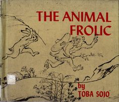 vintage kids Japanese book The Animal Frolic, 12th century Japan Toba Soju caricature illustrations, unique baby shower gift, Asian art