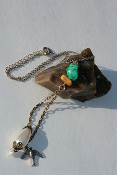 Turquoise stone, pearl and sparrow pendant Necklace. BRITTLESSHIP.ETSY.COM