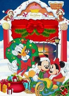 Christmas - Disney - Mickey & Minnie Mouse & Donald Duck Christmas Scenes, Christmas Pictures, Christmas Art, Vintage Christmas, Mickey Mouse Christmas, Christmas Cartoons, Mickey Mouse And Friends, Image Mickey, Mickey Mouse Wallpaper